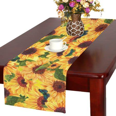 mypop sunflower floral fabric table runner placemat