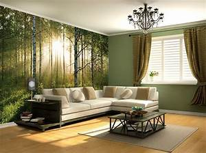 Sunny green Forest wall mural wallpapers