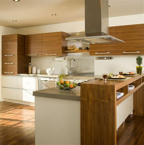cuisine comptoir armoires de cuisine réalisées en noyer naturel modules du