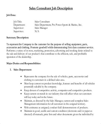 Sle Consultant Resumes Exles by Sales Consultant Sales Consultant Description Sle