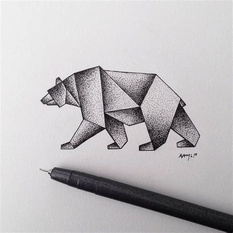 geometric stipple bear illustration tattoo ideas