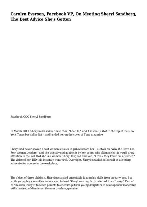 Sheryl Sandberg Cv by Carolyn Vp On Meeting Sheryl Sandberg