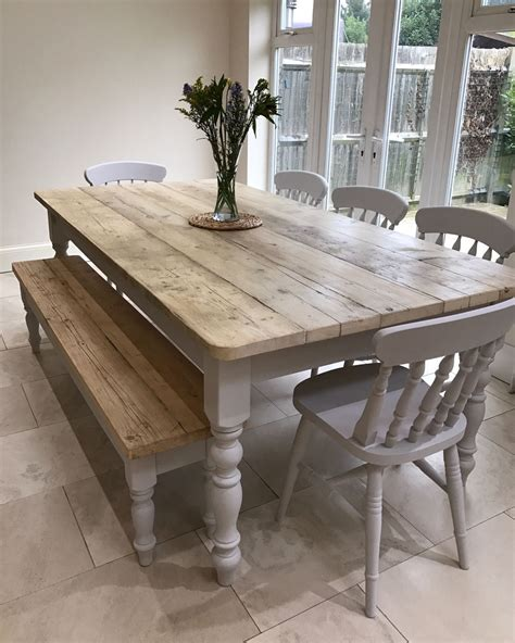 lime washed farmhouse tables  benches bespoke sizes