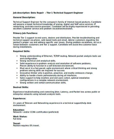 technical support engineer sle resume 28 images
