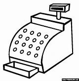 Cash Register Clipart Coloring Pages Clip Inventions Thecolor Computer Cliparts sketch template