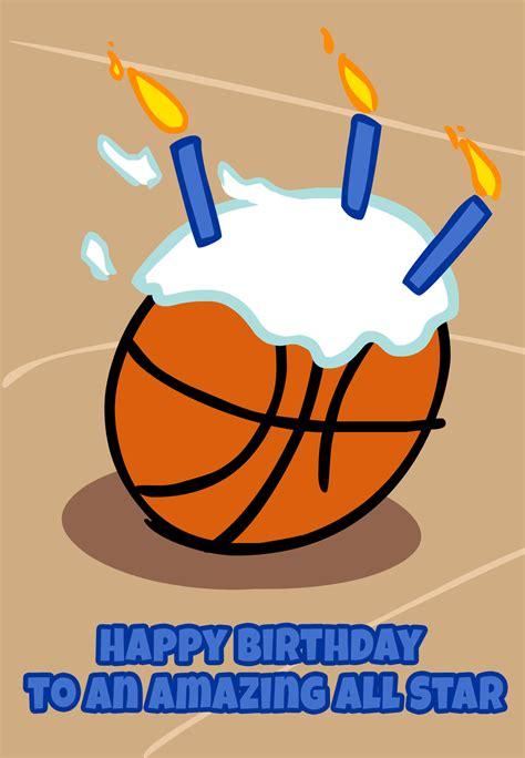 basketball candles birthday card   island