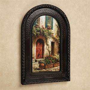 red door italian scene arched framed wall art With tuscan wall art