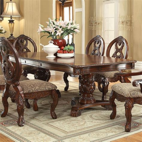 rovledo double pedestal dining table acme furniture