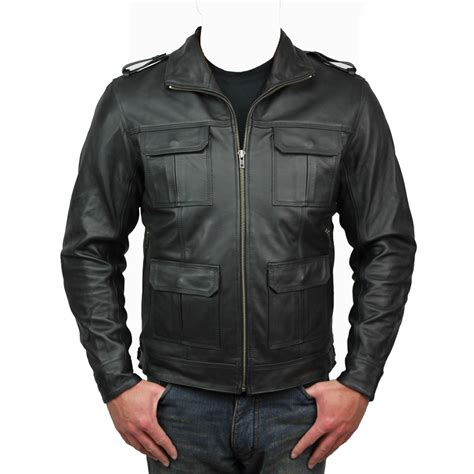 cowhide leather jackets mens black scooter business city motorcycle aniline
