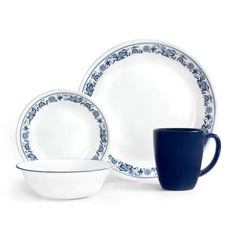 corelle vitrelle corelle livingware town blue 16 dinnerware set