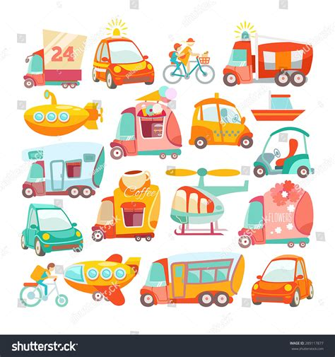 Big Set Cute Cartoon Cars Kids Stock Vector 289117877