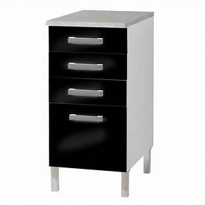 Meuble Cuisine Noir : meuble bas 4 tiroirs glossy noir ~ Melissatoandfro.com Idées de Décoration