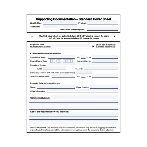 cover sheet templates  sample  format