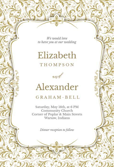 tasteful tapestry frame wedding invitation template