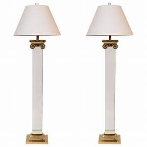 pair of acrylic and brass neoclassical column floor lamps With 4 column floor lamp