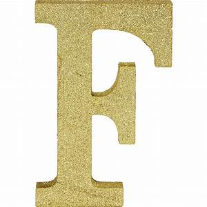 Glitter Gold Letter F Sign 6in x 9in | Party City