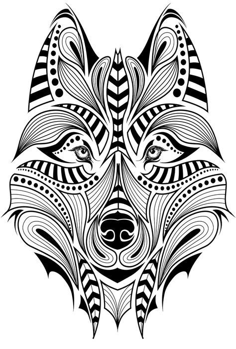 One of the wolf head patterns in the Wolves coloring book. I found more majestic wolf patterns