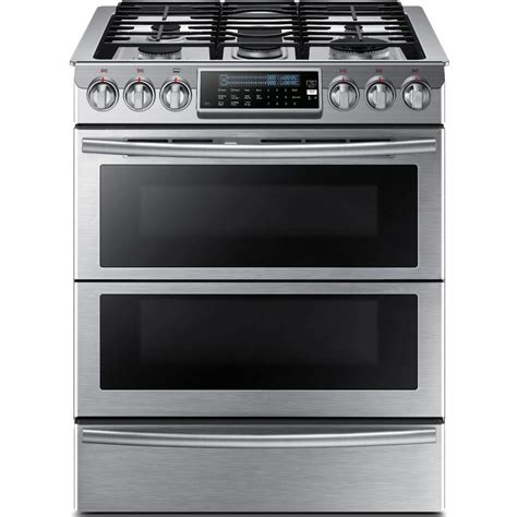 samsung 30 in 5 8 cu ft slide in dual door oven dual fuel range with self cleaning