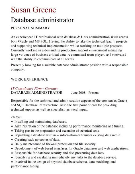 Administrator Curriculum Vitae Template by Database Administrator Cv Template Free Sles