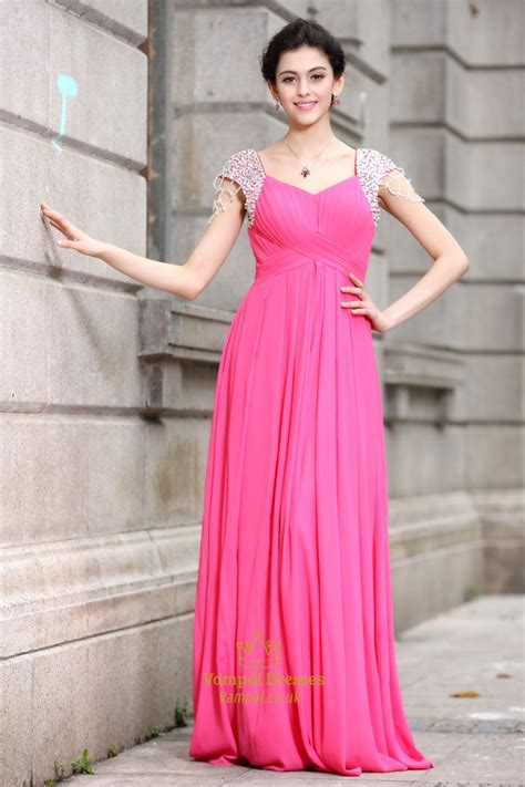 Hot Pink Prom Dresses With Cap Sleeveshot Pink Dresses
