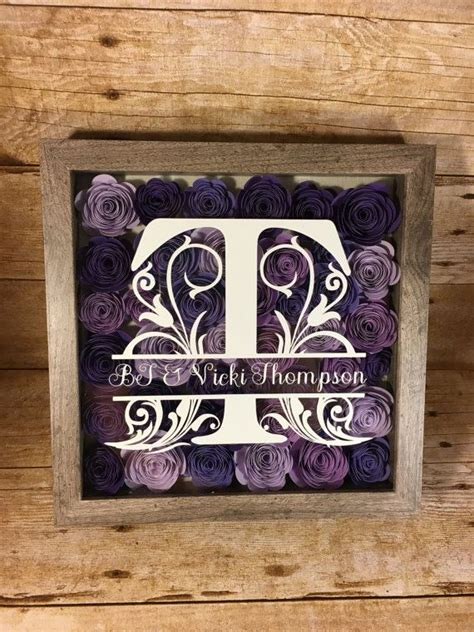 monogrammed flower shadow box wedding gift gallery wall