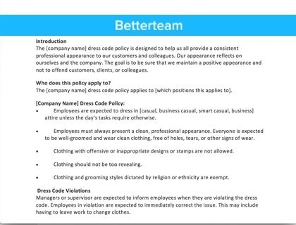 attendance policy sample template  overview