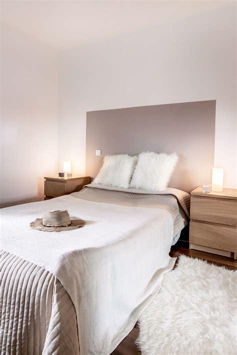 chambre lit blanc chambre decoration taupe et blanc beige bois diy tete de