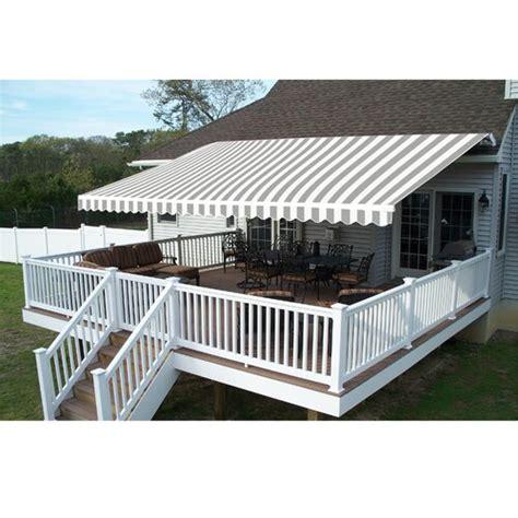 aleko fabric retractable standard patio awning reviews wayfairca