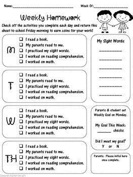 special  weekly homework checklist