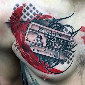 50 Cassette Tape Tattoo Designs For Men - Retro Ink Ideas
