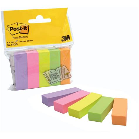 Postit® Notes Markers Small 15 X 50 Mm Assorted Neon