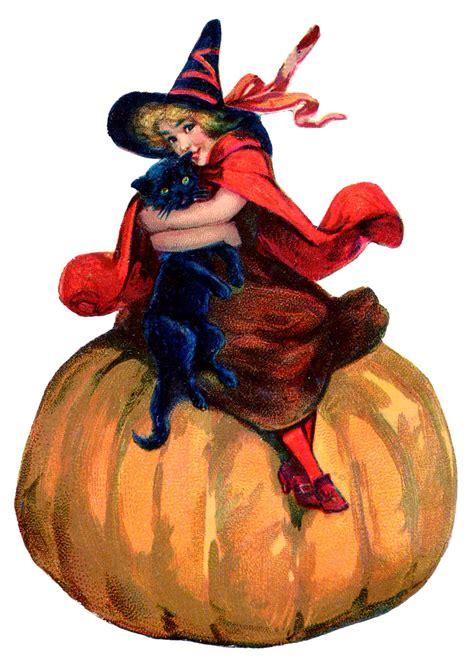 vintage halloween image adorable witch  pumpkin