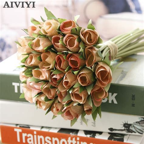 artificial silk flower  bunch french rose floral bouquet