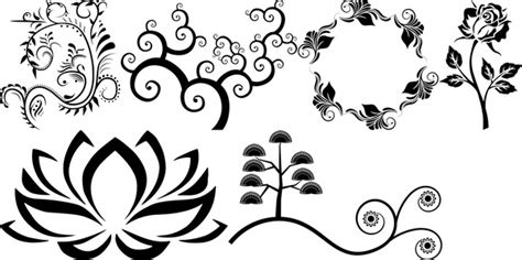 Abstract Flowers Black And White by Abstract Flowers Decoration Sets In Black And White Free