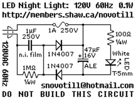 Led Night Light For Vac Mains Current Derived