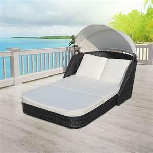 Rattan Lounge Mit Dach : sonnenliege loungeliege gartenliege relaxliege liege mit dach poly rattan garten ebay ~ Bigdaddyawards.com Haus und Dekorationen