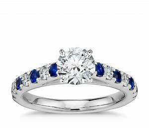 riviera pave sapphire and diamond engagement ring in With diamond and sapphire wedding rings