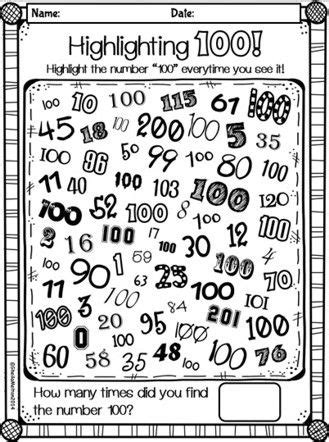 Printable 100th Day of School Activities