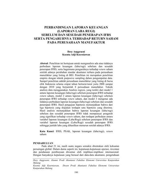 pdf perbandingan laporan keuangan laporan laba rugi sebelum dan sesudah penerapan ifrs serta
