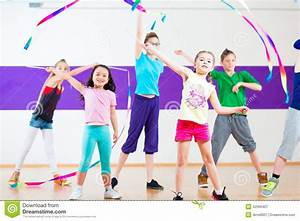 Kids In Dancing Class Traninng With Scarfs Stock Photo ...