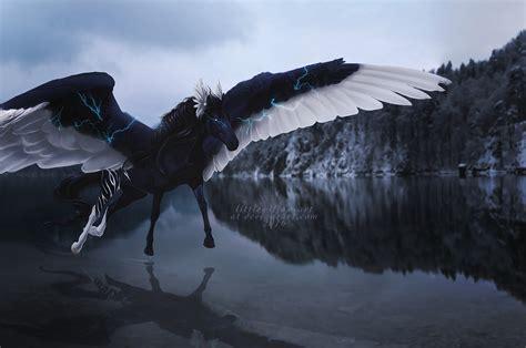 Download 2560x1700 Black Pegasus, Lightning, Water
