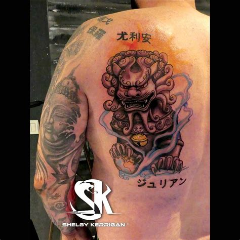 Tatouage Japonais Boudha Et Lion  Shelby Kerrigan Tattoo
