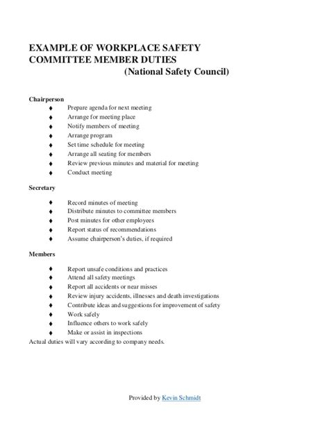 Health And Safety Committee Meeting Agenda Template by Sle Safety Committee Layout