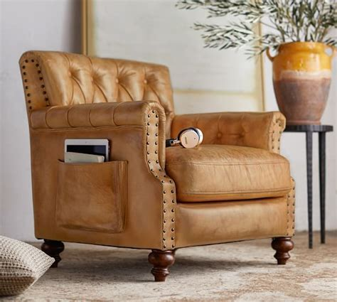 Colton Leather Armchair  Pottery Barn