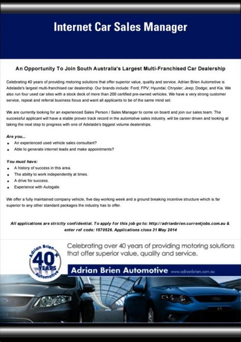 Job Advert Internet Car Sales Manager We Are Currently