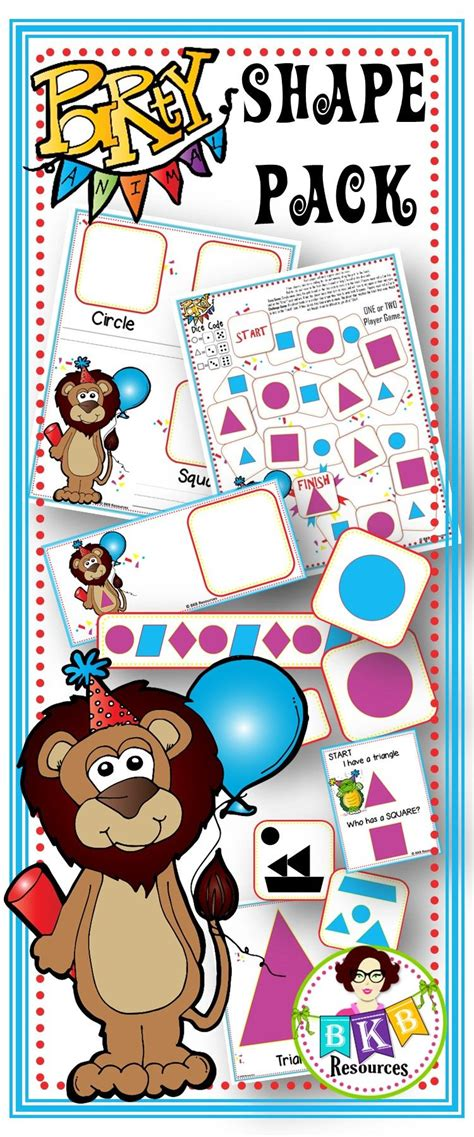 shape activities party animal  shape pack