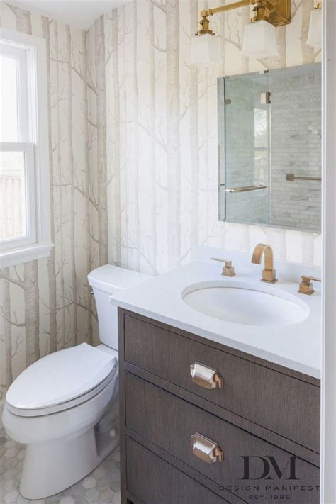 Bathroom With Gold Fixtures With Unique Minimalist