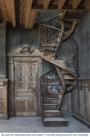 beautiful spiral staircase   wrought iron railing