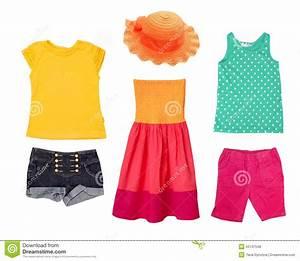 Bright Summer Fashion Kid Girl Clothing. Stock Photo ...