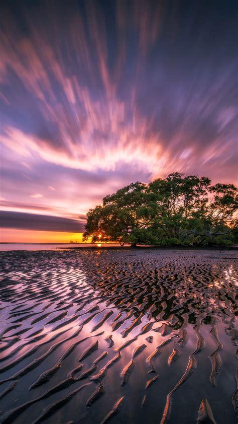 wallpaper sunrise nudgee beach   nature